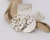 Child's original handwriting sterling silver tree of life necklace, Handmade Handwritten Jewelry, custom engraved Mom Grandmom keepsake gift