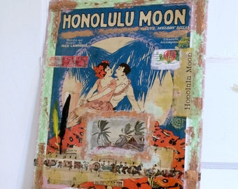 Vintage Sheet Music Mixed Media Art, Honolulu Moon, Tropical Beach Painting, Romantic Couple Art, Hawaiian Artwork, 11 x 14 inches