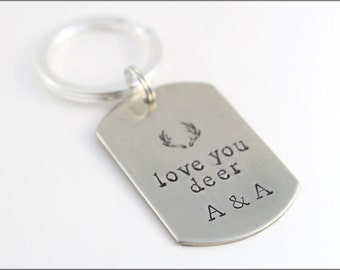 Custom Initial Keychain with Deer Antlers and Love You Deer | Gift for Hunter