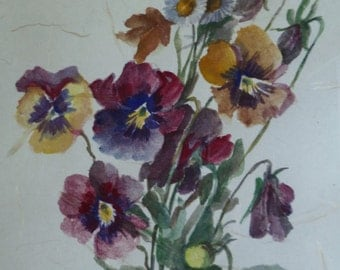 Pansies Watercolor Painting, Framed. Vintage 1940s. Flowers Floral Picture. White Cream Wood Frame. Original Art. Cottage Shabby Chic Decor.