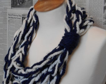 Cream and Navy Rope Scarf