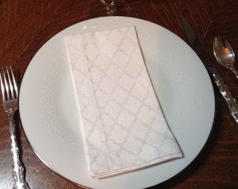 Handmade Cloth Dinner Napkins,  Cotton Napkins, Set  of 4 Napkins, White on White Napkins