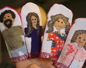 Eco friendly family finger puppets