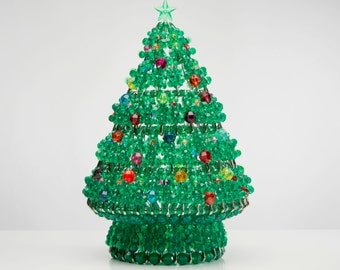 Noël - Handcrafted Beaded Christmas Tree with Lights