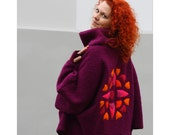 Purple poncho with cowl decorated mandala motif  (with warmers cuffs and a badge)