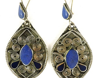 Earrings Silver Lapis Stone Insets Afghanistan 105602 SALE WAS 22