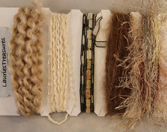 Specialty yarn art fiber embellishment bundle, Desert Sands