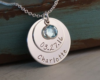 Personalized Hand Stamped Mommy Necklace - Sterling Silver Jewelry - My Baby Info 2nd edition