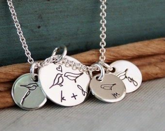 Mommy Necklace / Hand Stamped Personalized Sterling Silver Jewelry / Small Tags - All Together (Necklace with three kids initials)
