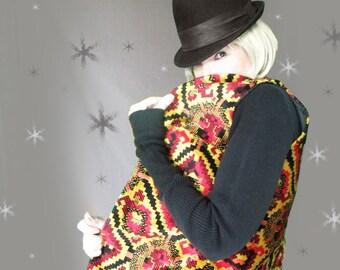 Vintage Tapestry Vest - 70s Long Vest - Aladdin Hippie Vest