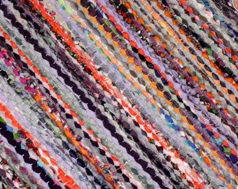 Handwoven  vintage look, rag rug -3,79 ' x 5.58' , multicolored , lilac,orange, grey, black white tones, ready for sale