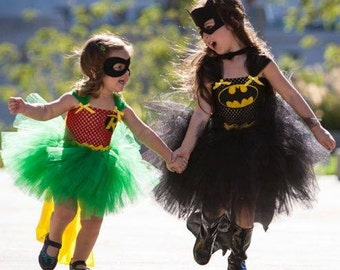 Girls Batman & Robin Inspired Tutu Dress Halloween Costume