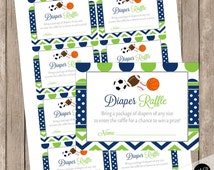 Diaper Raffle Card with Sports Theme - Diaper Raffle Ticket - Lime and Navy - Diaper Request Card Instant Download LNCP-S