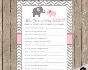 Elephant Baby Shower Game -  Who Knows Mommy Best Game, pe1