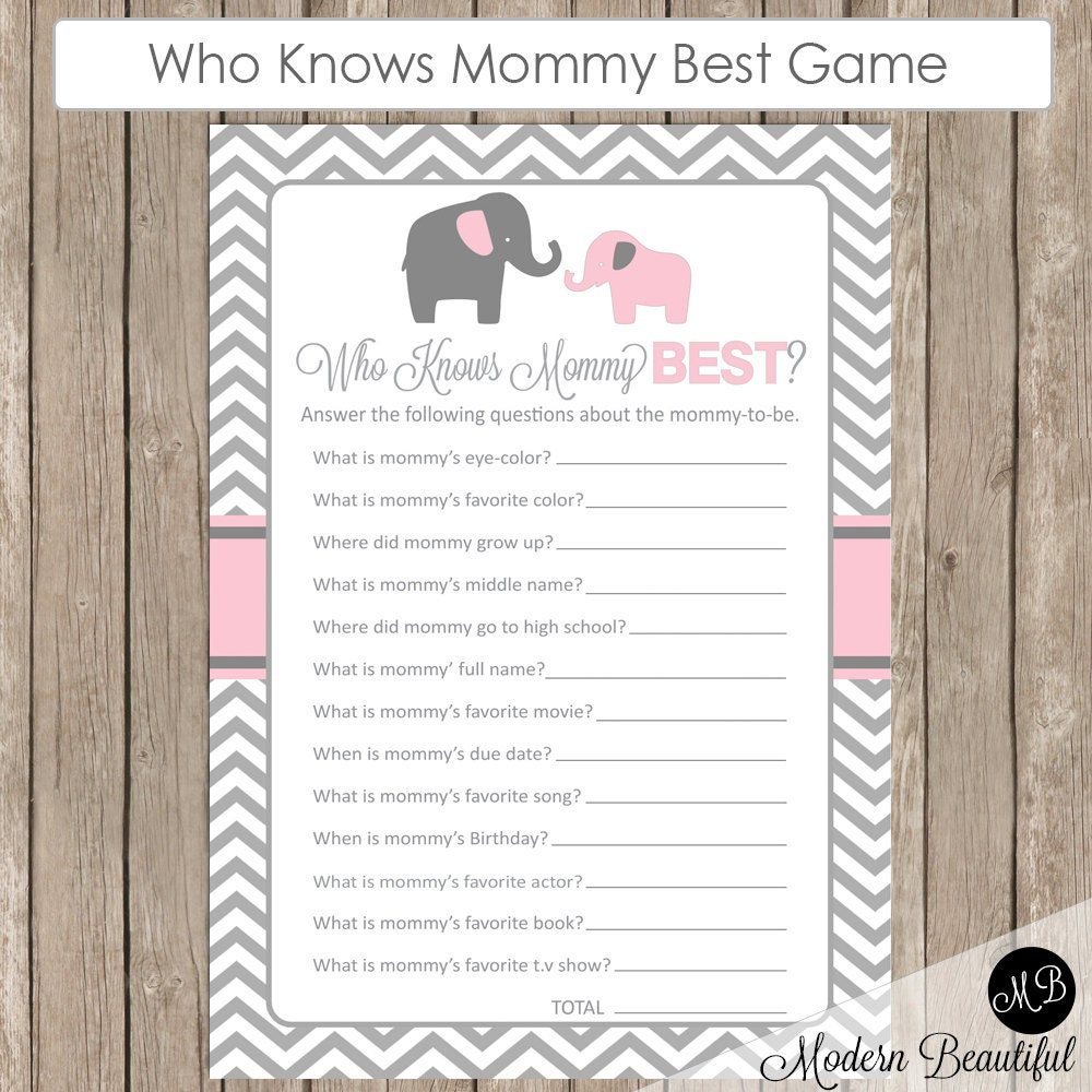 elephant baby shower game who knows mommy best game pe1. Black Bedroom Furniture Sets. Home Design Ideas