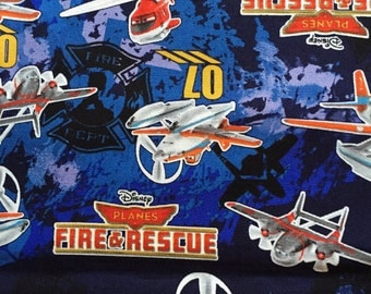 Disney movies fire & rescue fabric blue colour half  yard