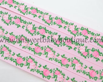 Vintage Floral Grosgrain Ribbon on Pearl Pink