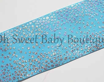 """3"""" Misty Turquoise Silver Holographic Fancy Dot  *Cheer Bow Ribbon*"""