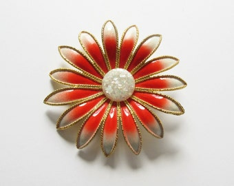 Orange and White Flower Pin Brooch with White Button Center Large Vintage Floral Jewelry Gift
