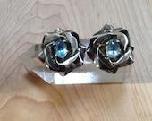 Carol Felley 1985 Blue Topaz Sterling Silver Statement Earrings