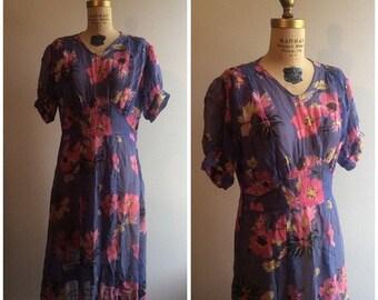 SALE 1920s Lavender Pink Floral Chiffon Dress 20s Flapper Deco