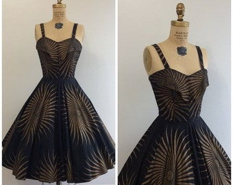 SALE Vintage 1950's Painted Cotton Sun Novelty Dress 50's Mademoiselle Party Nassau Bahamas