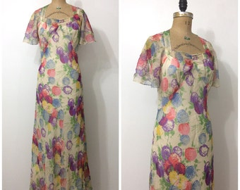 1930s Floral Chiffon Gown 30s Formal Evening Wedding Dress