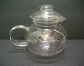 Clear Glass Teapot, One Quart Glass Teapot, Terrarium Idea, Terrarium Planter, Fairy Garden Container, Teapot, Medium Sized Glass Teapot,