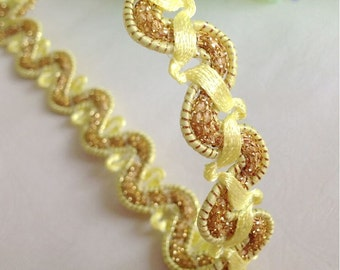 """10 yard 1cm 0.39"""" wide yellow braided tapes lace trim ribbon 33106 free ship"""