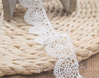 """10 yard 3cm 1.18"""" ivory wheel fabric embroidered tapes lace trim ribbon 12 free ship"""