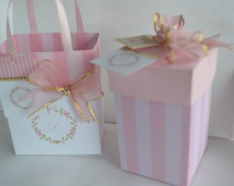 Pink and gold gift bag with initial customized for you