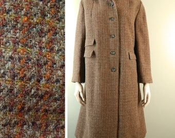 Vintage 1950s Harris Tweed Coat. Handwoven in Scotland. Tailored by Tar-Shire. Excellent Condition.  Bust 44  Size Large