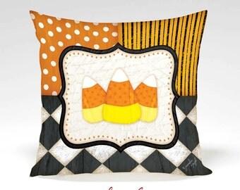 Candy Corns Decorative Pillow -Halloween, Thanksgiving, Fall, Home Decor, Orange, Black, White, Polka Dots, Stripes, Full Inserted Pillow
