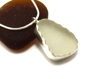 Sea Glass Necklace, Seaglass Necklace, Sea Glass Jewelry,  Beach Glass Jewelry, Bezel Set Necklace, Sea Glass Pendant, MARIELE