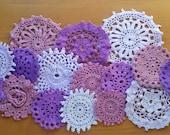 Hand Dyed Vintage Crochet Doilies, 16 Purple Colors