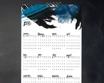 2016 Yearly Printable Calendar Simplified painted design