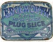 Edgeworth Plug Slice Tobacco Advertising Tin Vintage Tobacciana Advertising Tin Vintage Americana Hinged Tin Container ACTTEAM