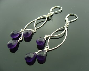 Long Brazilian Amethyst Chandeliers Sterling Silver Earrings