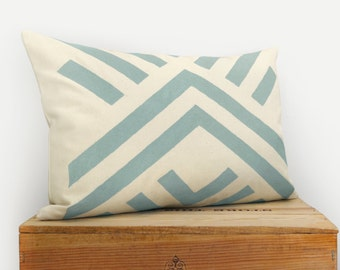 12x18 or 16x16 Geometric Pillow Cover | Dusty Aqua and Beige Ecru Hand Printed Chevron Cushion | Bold Aztec and Tribal | Eclectic Home Decor