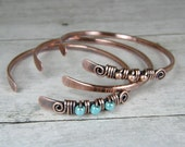 Copper Bangle Set, Wire Wrapped Bangles, Set of Three, Antiqued & Hammered Copper and Turquoise Bangles