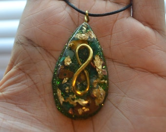 Golden Infinity - Orgone Pendant - Malachite, Green Aventurine, Tiger's Eye, Quartz, Copper Nuggets