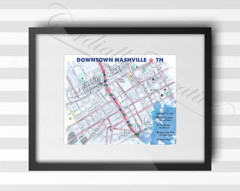Nashville Map watercolor illustration print 8x10 inches, digitally printed on white linen stock, unique gift art, hand drawn map, Tennessee