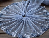2 Yards Lace Trim Exquisite Blue Flowers Embroidered Tulle Lace 7.87 Inches Wide High Quality