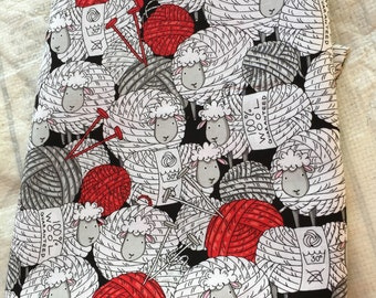 Yarn Sheep Cotton Fabric, 1 yard, Timeless Treasures, 100% Cotton, Sewing, Quilting, Clothing, Accessories, By the Yard, Knit, Crochet