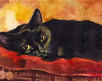 Black Cat Digital Art Print of Watercolor Painting. JPEG image of cat for instant download. Watercolor of cat by Yuliya Podlinnova.