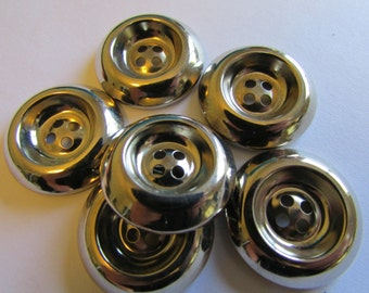 """6 Vintage 7/8"""" silver plastic buttons (23mm) with indented center and raised edge 4 holes, quantity 6"""