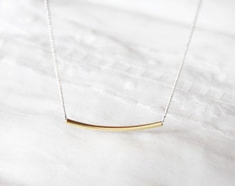 Simple thin TUBE Necklace - Layering  TUBE Necklace-  S2352-1