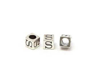 Alphabet Beads Sterling Silver 6mm Alphabet Blocks S - 1pc (3212)/1