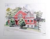 11x14 Custom Home Portrait Watercolor Illustration