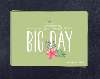 Save the date template  / watercolour flowers and leafs / Vintage style / Big Day